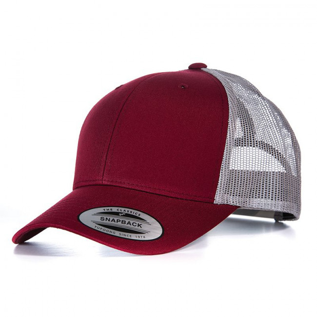 Burgundy/Grey Retro Trucker Cap