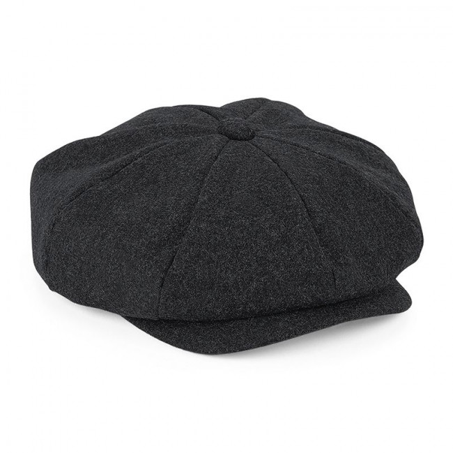 Charcoal Melton Wool Baker Boy Cap