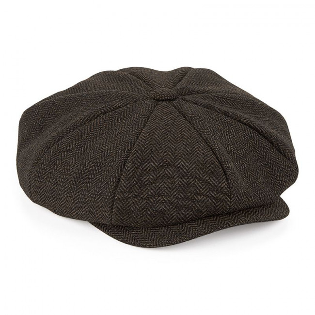 Brown Herringbone Baker Boy Cap