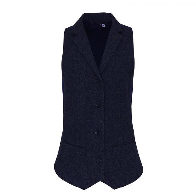 Ladies Navy Herringbone Waistcoat