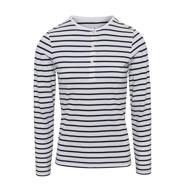 Womens White/Navy Long John Roll Sleeve T-Shirt