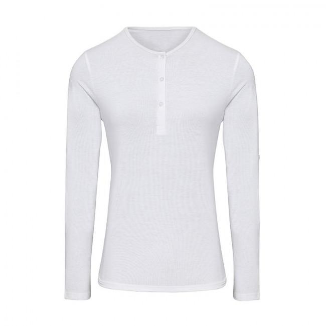 Womens White Long John Roll Sleeve T-Shirt