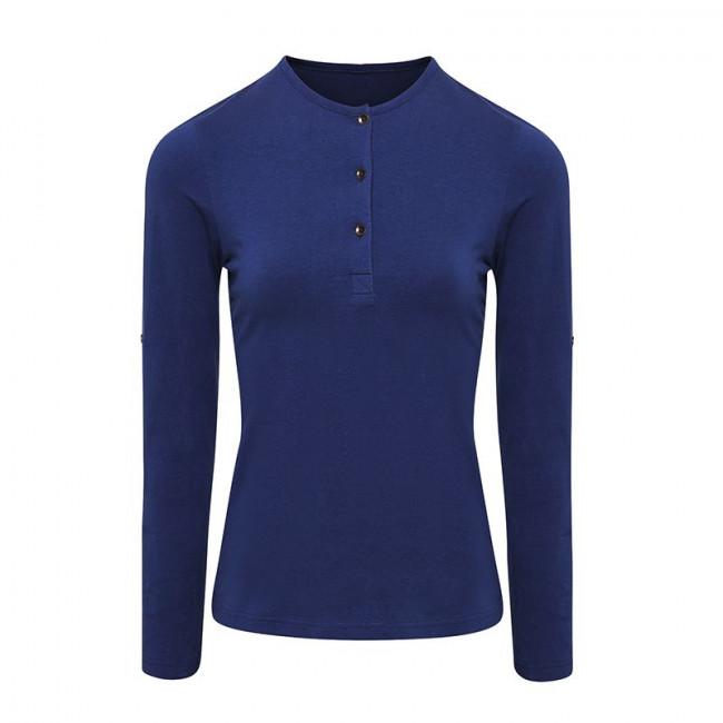 Womens Indigo Long John Roll Sleeve T-Shirt