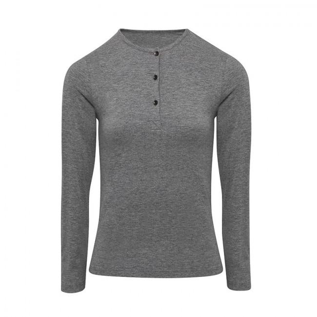 Womens Grey Marl Long John Roll Sleeve T-Shirt
