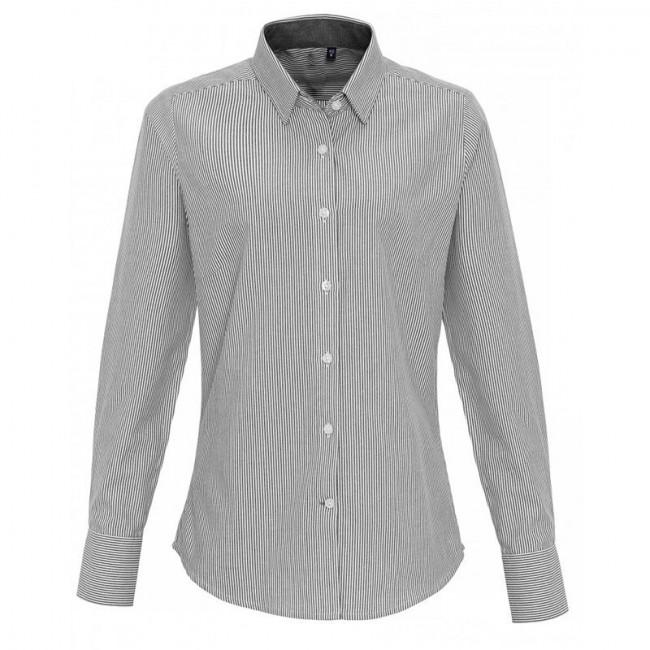 Ladies White/Grey Oxford Stripe Blouse