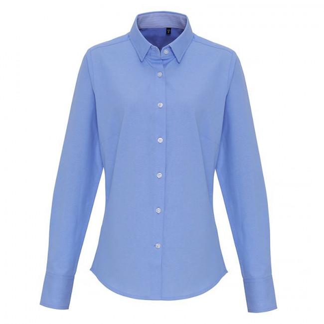 Ladies Light Blue Oxford Stripe Blouse