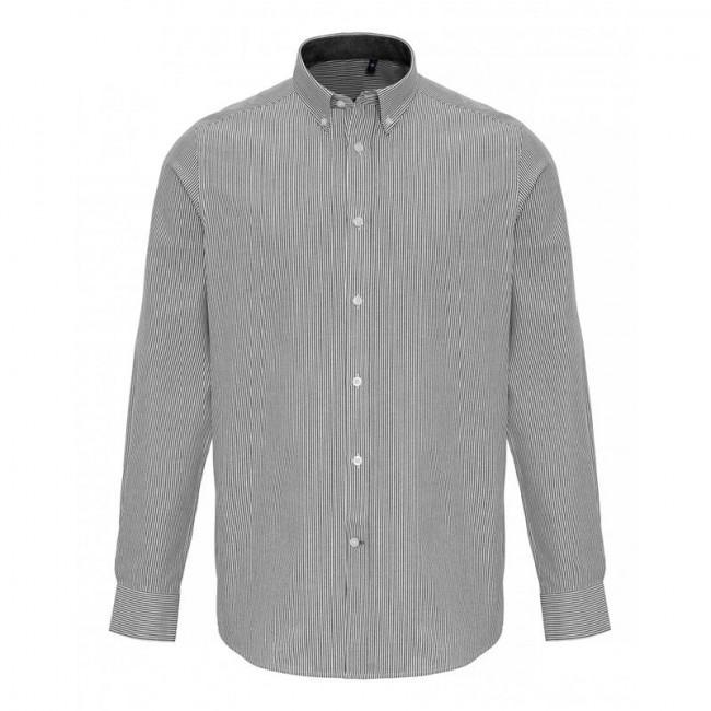 Mens White/Grey Oxford Stripe Shirt