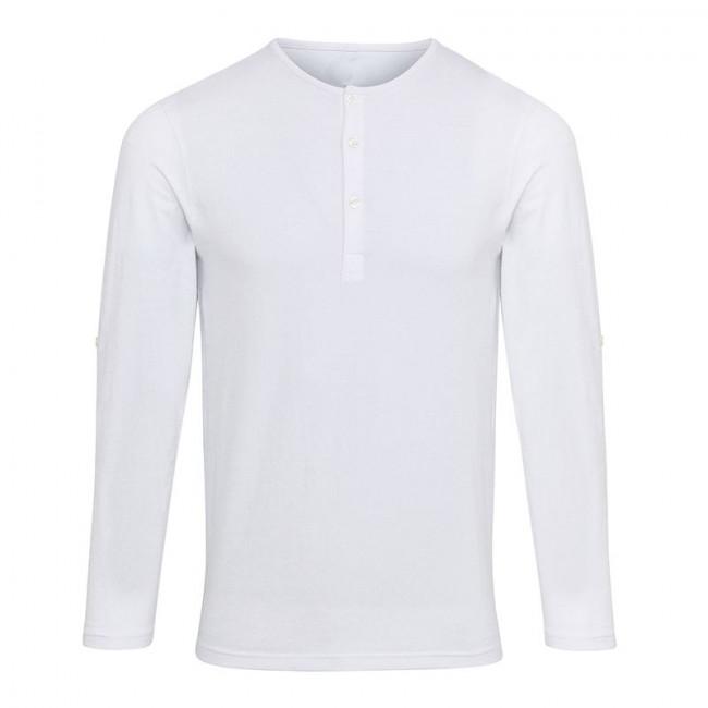 Mens White Long John Roll Sleeve T-Shirt