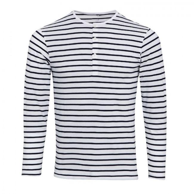 Mens White/Navy Long John Roll Sleeve T-Shirt