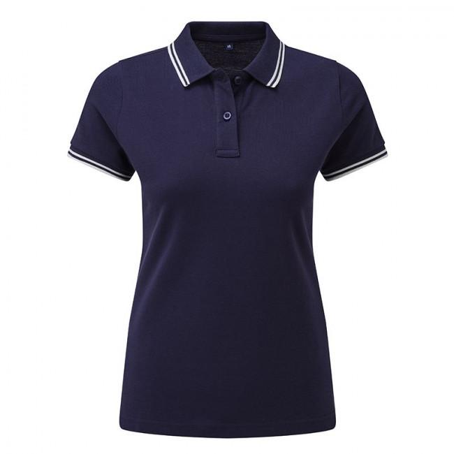 Ladies Navy/White Tipped Collar Polo Shirt