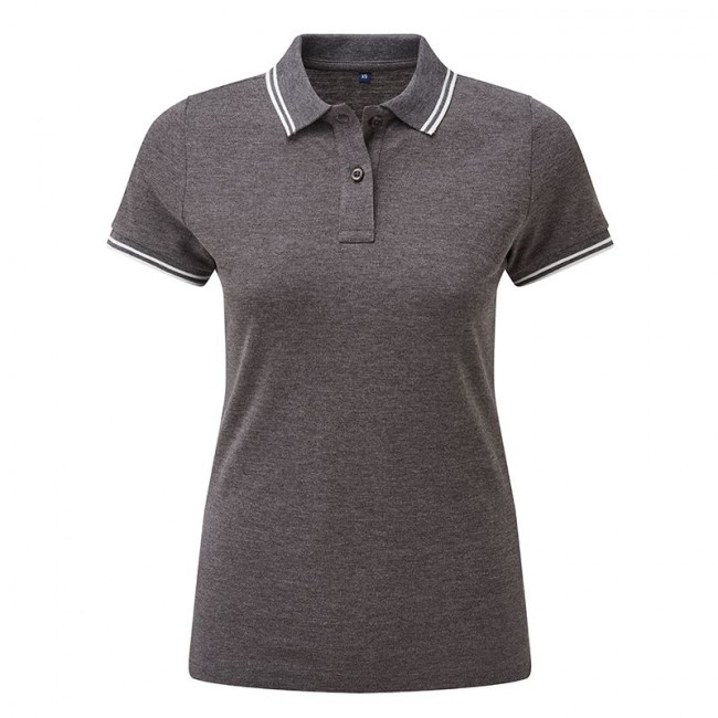 Ladies Charcoal/White Tipped Collar Polo Shirt
