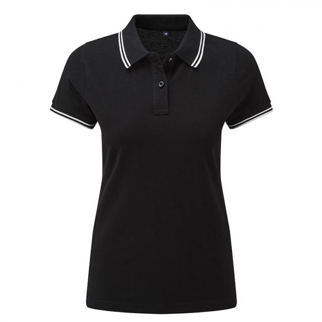 Ladies Black/White Tipped Collar Polo Shirt