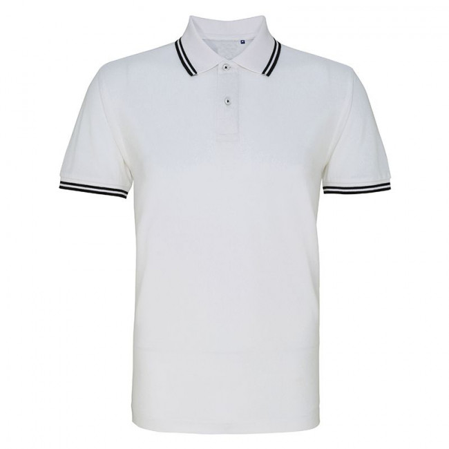 Mens White/Black Tipped Collar Polo Shirt