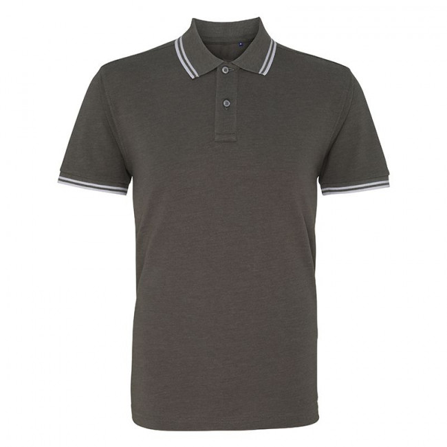 Mens Charcoal/White Tipped Collar Polo Shirt