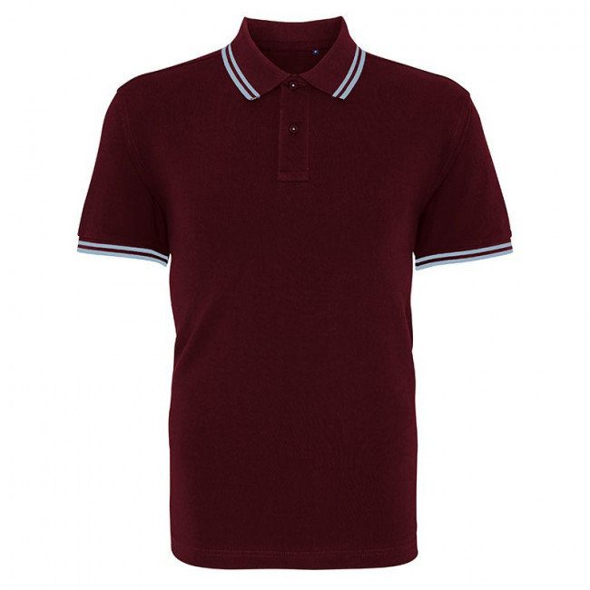 Mens Burgundy/Sky Tipped Collar Polo Shirt