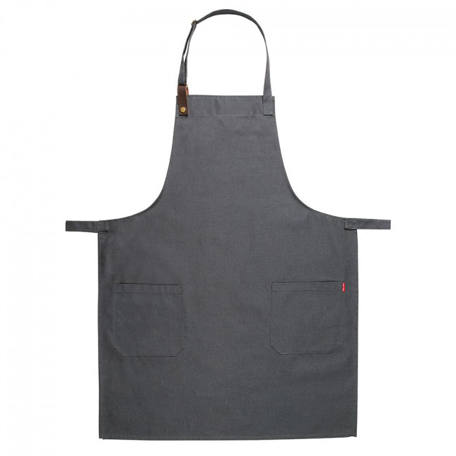 Grey Canvas Adjustable Apron w/ Leather Detailing