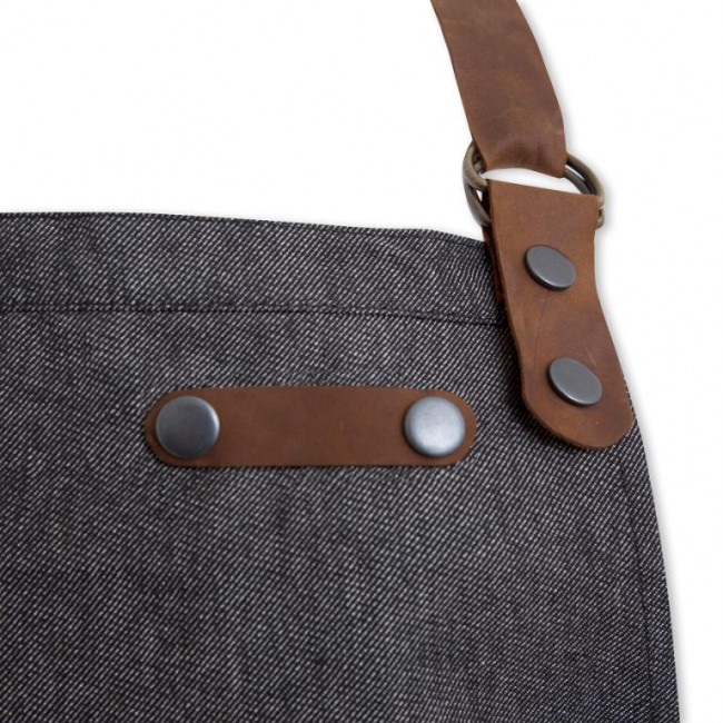 Black Denim Bib Apron w/ Leather Detailing