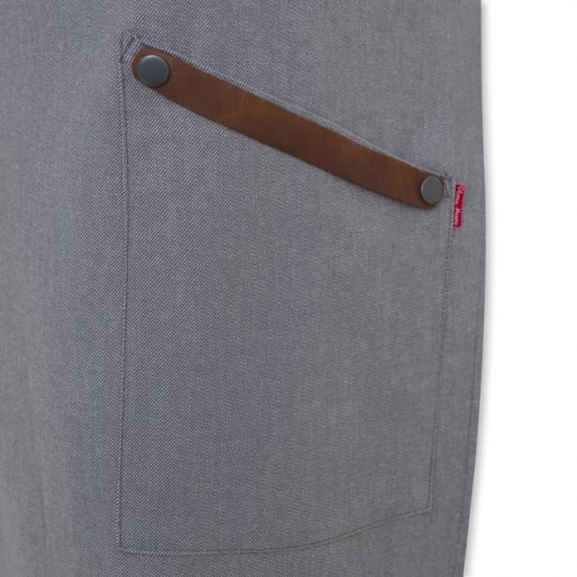 Grey Denim Bib Apron w/ Leather Detailing