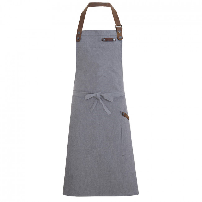 Grey Denim Bib Apron w/ Leather Detailing