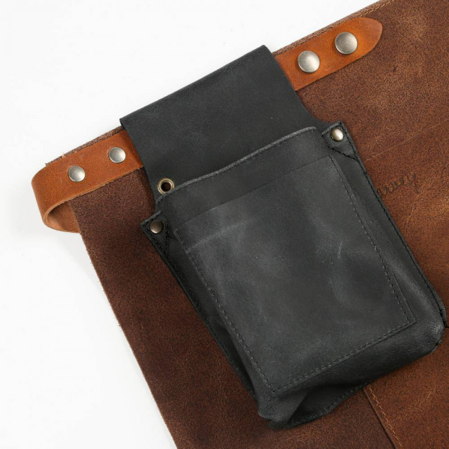 Dark Brown Short Waist Leather Apron