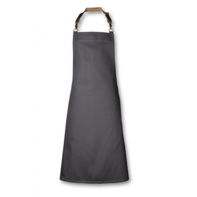 Slate Grey Bib Apron w/ Adjustable Leather Strap