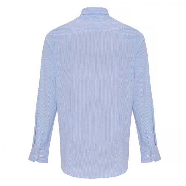 Mens White/Light Blue Oxford Stripe Shirt