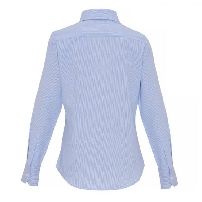 Ladies White/Light Blue Oxford Stripe Blouse