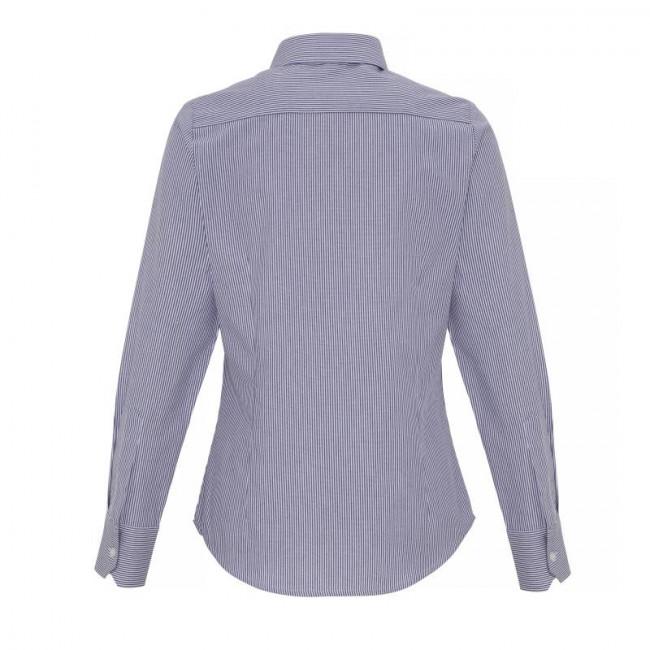 Ladies White/Navy Oxford Stripe Blouse