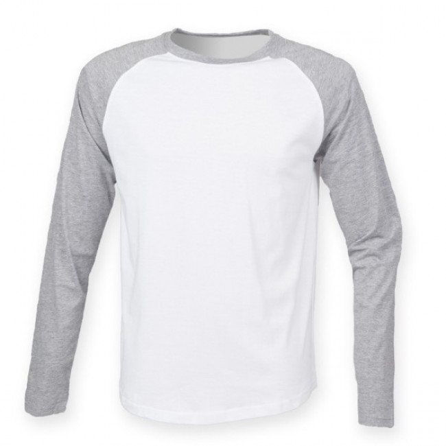Mens White/Grey Baseball T-Shirt