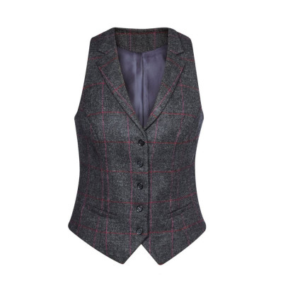 Women's Charcoal/Pink Check Waistcoat