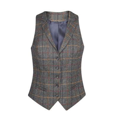 Women's Grey/Brown Check Waistcoat
