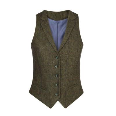 Women's Green/Blue Check Waistcoat
