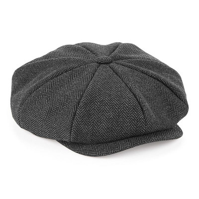 Charcoal Herringbone Baker Boy Cap