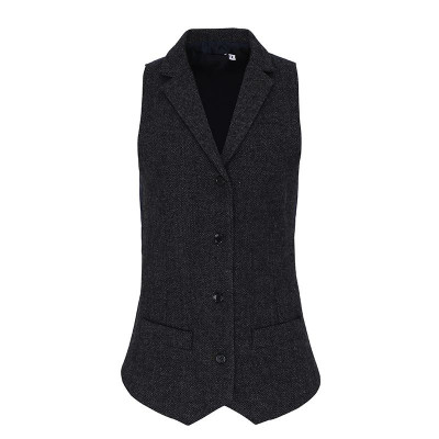 Ladies Dark Grey Herringbone Waistcoat