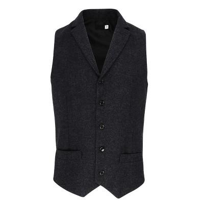 Mens Dark Grey Herringbone Waistcoat