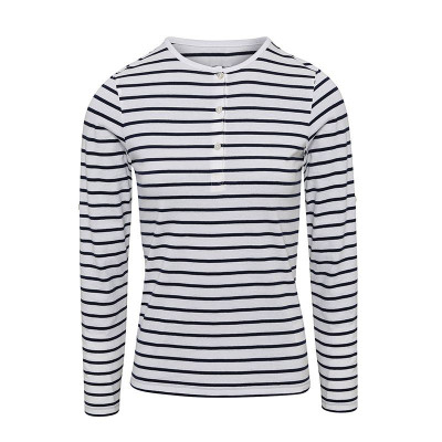 Womens White/Navy Long John Roll Sleeve T-Shirt