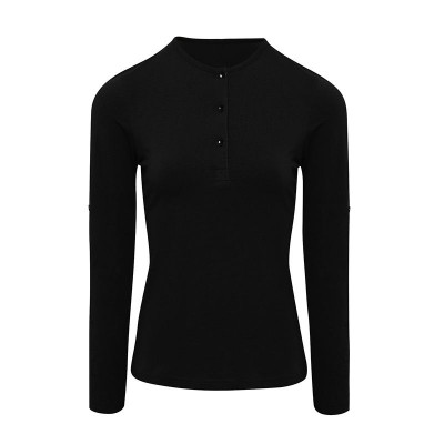 Womens Black Long John Roll Sleeve T-Shirt