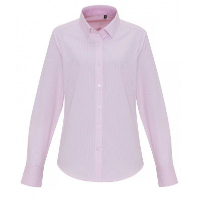 Ladies White/Pink Oxford Stripe Blouse