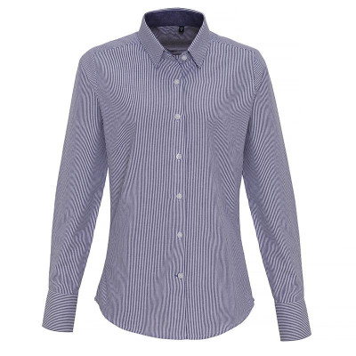 Ladies White/Navy Oxford Stripe Blouse