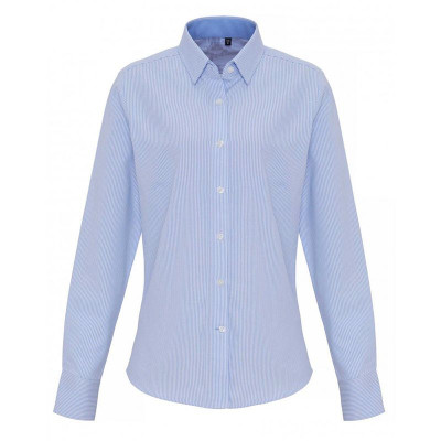 Ladies White/Light Blue Oxford Stripe Blouse