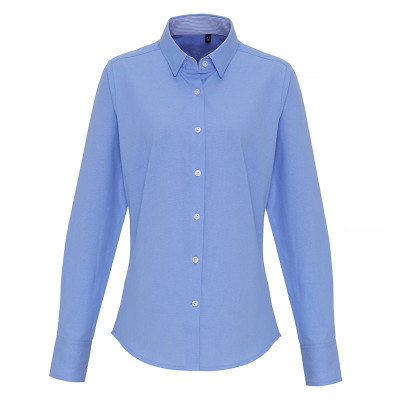 Ladies Light Blue Oxford Stripe Blouse