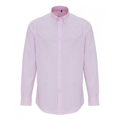 Mens White/Pink Oxford Stripe Shirt