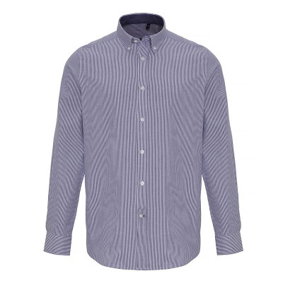 Mens White/Navy Oxford Stripe Shirt