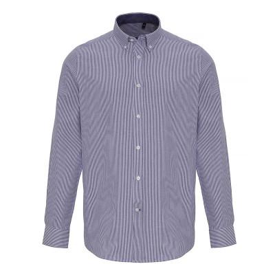 Mens White/Navy Oxford Stripe Shirt
