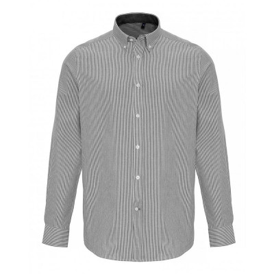 Mens White/Grey Oxford Stripe Shirt