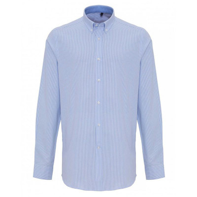 Mens White/Light Blue Oxford Stripe Shirt
