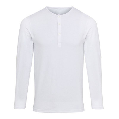 Mens White Long John Roll Sleeve T-Shirt