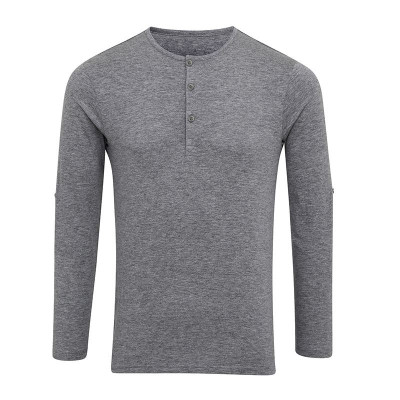 Mens Grey Marl Long John Roll Sleeve T-Shirt