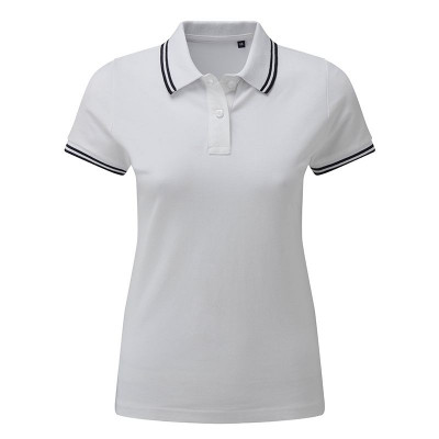 Ladies White/Black Tipped Collar Polo Shirt