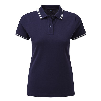Ladies Navy/White Tipped Collar Polo Shirt